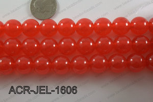 Acrylic Jelly Gumball Round 16mm, Red ACR-JEL-1606