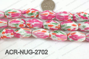 Acrylic Nugget faceted 16x27mm pink ACR-NUG-2702