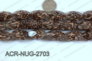 Acrylic Nugget faceted 16x27mm brown ACR-NUG-2703