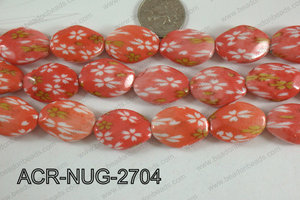 Acrylic Nugget flat faceted 20x27mm orange ACR-NUG-2704