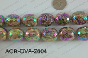 Acrylic Oval faceted 22x26mm brown ACR-OVA-2604