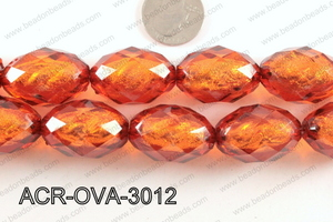 Acrylic Foil Faceted Oval Brown 20x30mm ACR-OVA-3012