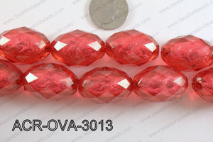 Acrylic Foil Faceted Oval Turquoise 20x30mm ACR-OVA-3013