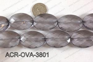 Acrylic Oval faceted 26x38mm grey ACR-OVA-3801