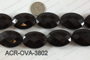 Acrylic Oval faceted 26x38mm black ACR-OVA-3802