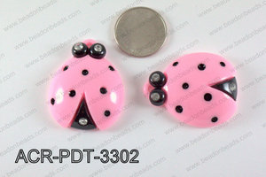 Acrylic Pendant Ladybird Light Pink 42x33mm ACR-PDT-3302