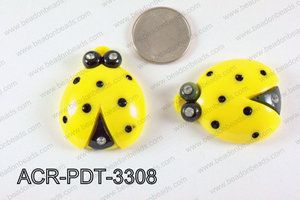 Acrylic Pendant Ladybird Yellow 42x33mm ACR-PDT-3308