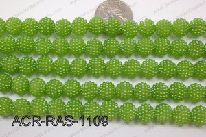 Acrylic Raspberry round Green 11mm ACR-RAS-1109