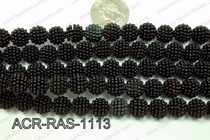 Acrylic Raspberry round Black 11mm ACR-RAS-1113