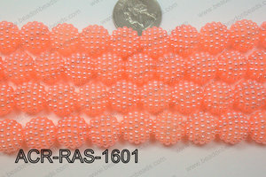 Acrylic Raspberry round Peach 14mm ACR-RAS-1601