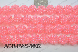 Acrylic Raspberry round Light Pink 14mm ACR-RAS-1602