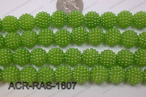 Acrylic Raspberry round Green 14mm ACR-RAS-1607