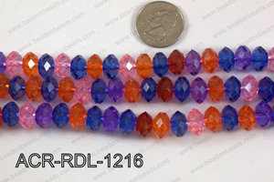 Acrylic Rondelle faceted 12mm multi  ACR-RDL-1216