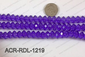 Acrylic Rondelle faceted 12mm purple  ACR-RDL-1219