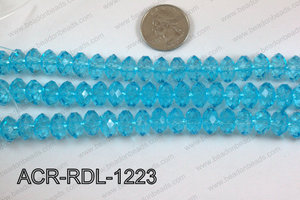 Acrylic Rondelle faceted 12mm light blue  ACR-RDL-1223