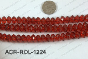Acrylic Rondelle faceted 12mm red   ACR-RDL-1224