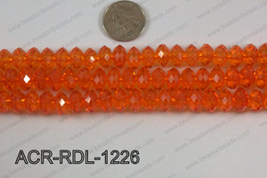 Acrylic Rondelle faceted 12mm orange  ACR-RDL-1226