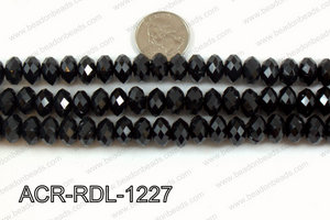 Acrylic Rondelle faceted 12mm black  ACR-RDL-1227