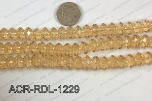 Acrylic Rondelle faceted 12mm beige  ACR-RDL-1229