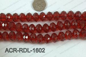 Acrylic Rondelle faceted 16mm red  ACR-RDL-1602
