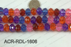 Acrylic Rondelle faceted 16mm multi  ACR-RDL-1606