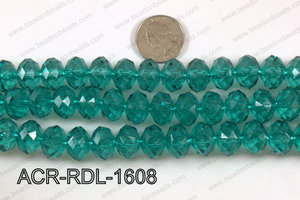 Acrylic Rondelle faceted 16mm emerald  ACR-RDL-1608