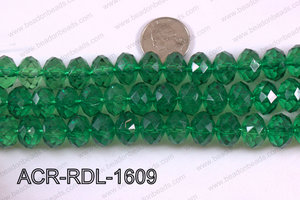 Acrylic Rondelle faceted 16mm green  ACR-RDL-1609