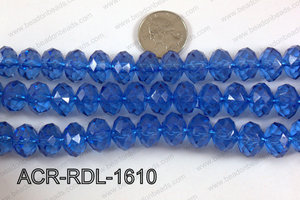 Acrylic Rondelle faceted 16mm dark blue  ACR-RDL-1610