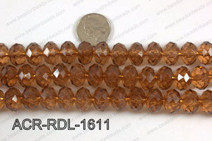 Acrylic Rondelle faceted 16mm brown  ACR-RDL-1611