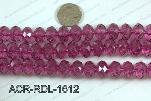 Acrylic Rondelle faceted 16mm wine  ACR-RDL-1612