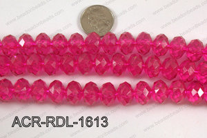 Acrylic Rondelle faceted 16mm hot pink  ACR-RDL-1613