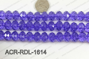 Acrylic Rondelle faceted 16mm purple  ACR-RDL-1614