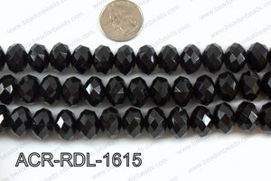 Acrylic Rondelle faceted 16mm black  ACR-RDL-1615