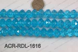 Acrylic Rondelle faceted 16mm light blue  ACR-RDL-1616