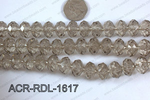 Acrylic Rondelle faceted 16mm grey  ACR-RDL-1617