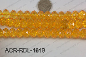 Acrylic Rondelle faceted 16mm yellow  ACR-RDL-1618