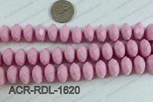 Acrylic Rondelle faceted 16mm pink  ACR-RDL-1620