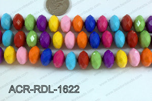 Acrylic Rondelle faceted 16mm multi  ACR-RDL-1622