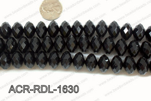 Acrylic Rondelle faceted 16mm black  ACR-RDL-1630