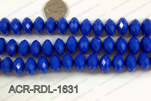 Acrylic Rondelle faceted 16mm dark blue  ACR-RDL-1631