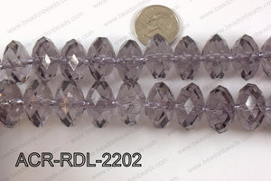 Acrylic Rondelle faceted 22mm smoky   ACR-RDL-2202