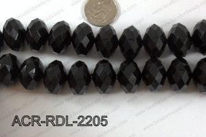 Acrylic Rondelle faceted 22mm black  ACR-RDL-2205