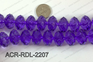 Acrylic Rondelle faceted 22mm purple  ACR-RDL-2207