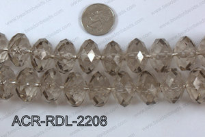 Acrylic Rondelle faceted 22mm grey  ACR-RDL-2208