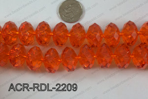Acrylic Rondelle faceted 22mm orange  ACR-RDL-2209