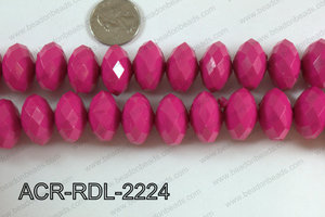 Acrylic Rondelle faceted 22mm dark pink  ACR-RDL-2224