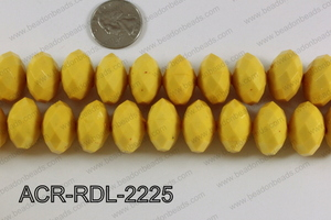 Acrylic Rondelle faceted 22mm yellow  ACR-RDL-2225
