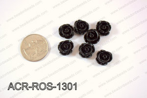 Acrylic Rose bead 13mm black ACR-ROS-1301