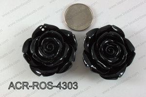 Acrylic Pendant Rose Black 43mm ACR-ROS-4303