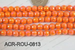 Acrylic Round faceted 8mm orange ACR-ROU-0813